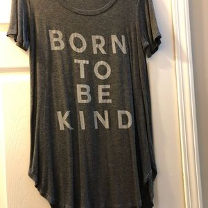 """BORN TO BE KIND"" Gray T-Shirt Tunic 🖤"